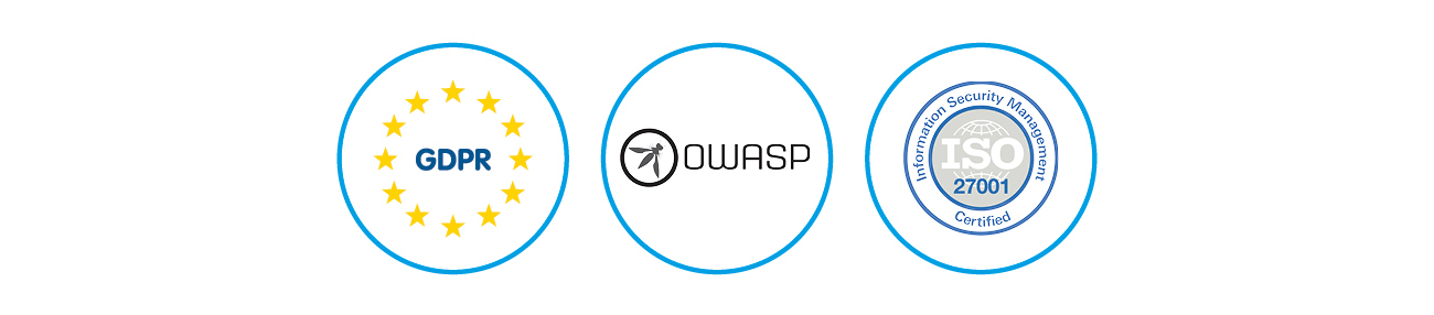 GDPR, OWASP, ISO 27001 logos